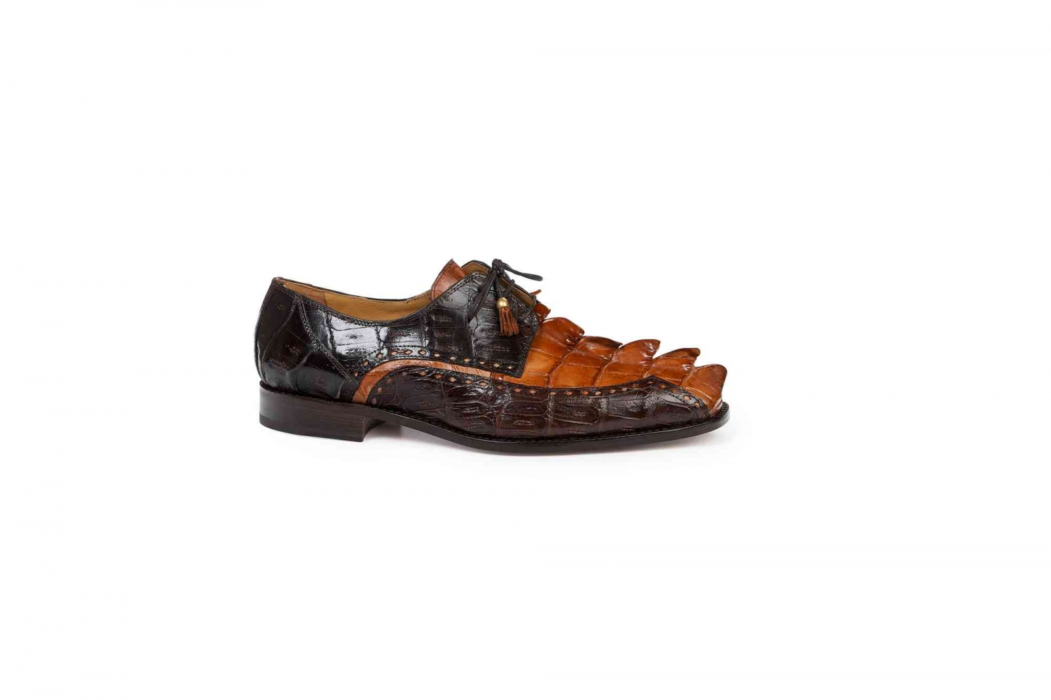 Hornback Raised Tail Hand Painted Cognac Baby Croc Sport Rust